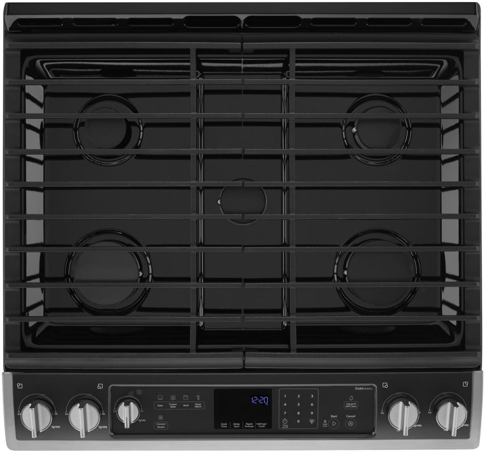 Whirlpool 5 burner gas range -  Gas Range In Stainless Steel Whirlpool Weg730h0ds Five 5 Burners With The Two 2 Front Burners