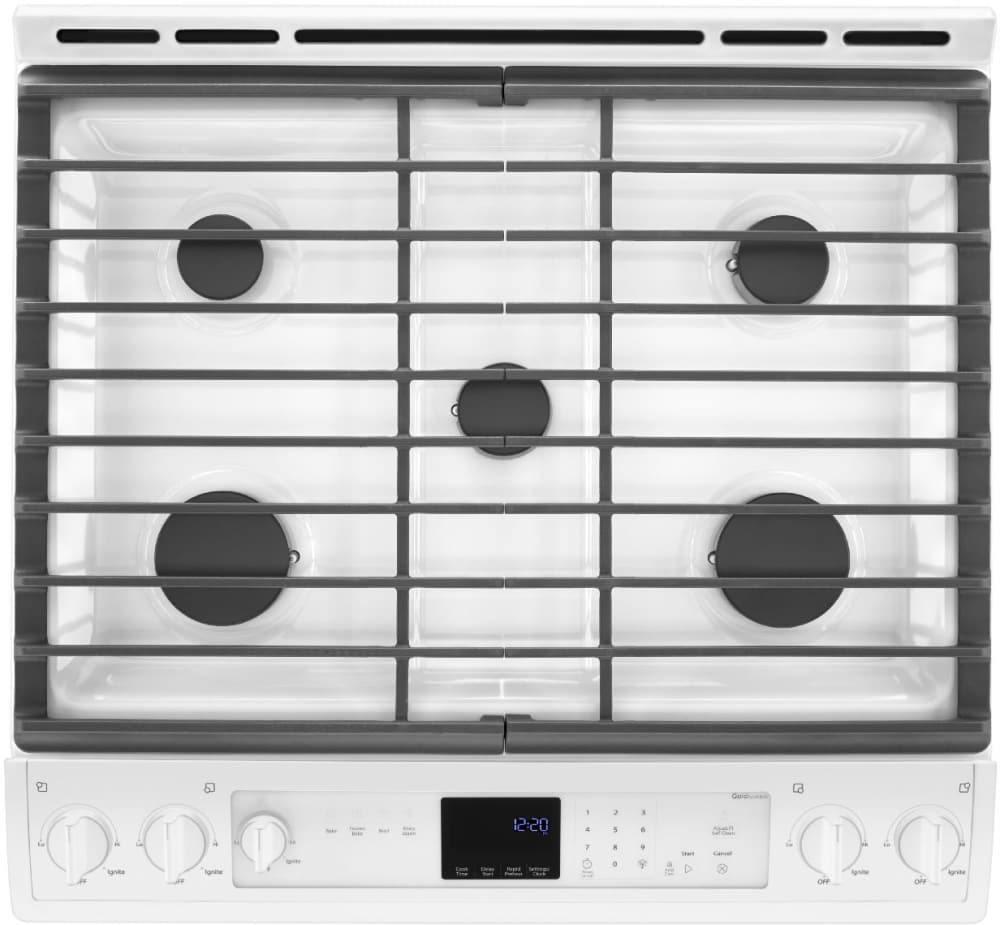 Whirlpool 5 burner gas range -  Gas Range In White Whirlpool Weg730h0dw Five 5 Burners With The Two 2 Front Burners