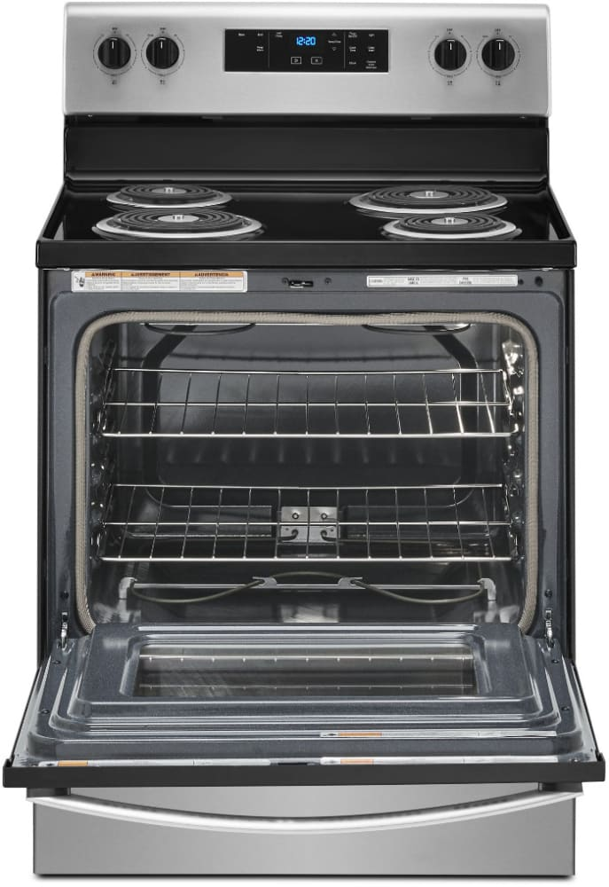 Whirlpool Wfc315s0js 30 Inch Freestanding Electric Range With 4 Coil Elements 4 8 Cu Ft Oven Capacity Storage Drawer Self Cleaning Technology Keep Warm Setting And Upswept Spillguard Cooktop Stainless Steel