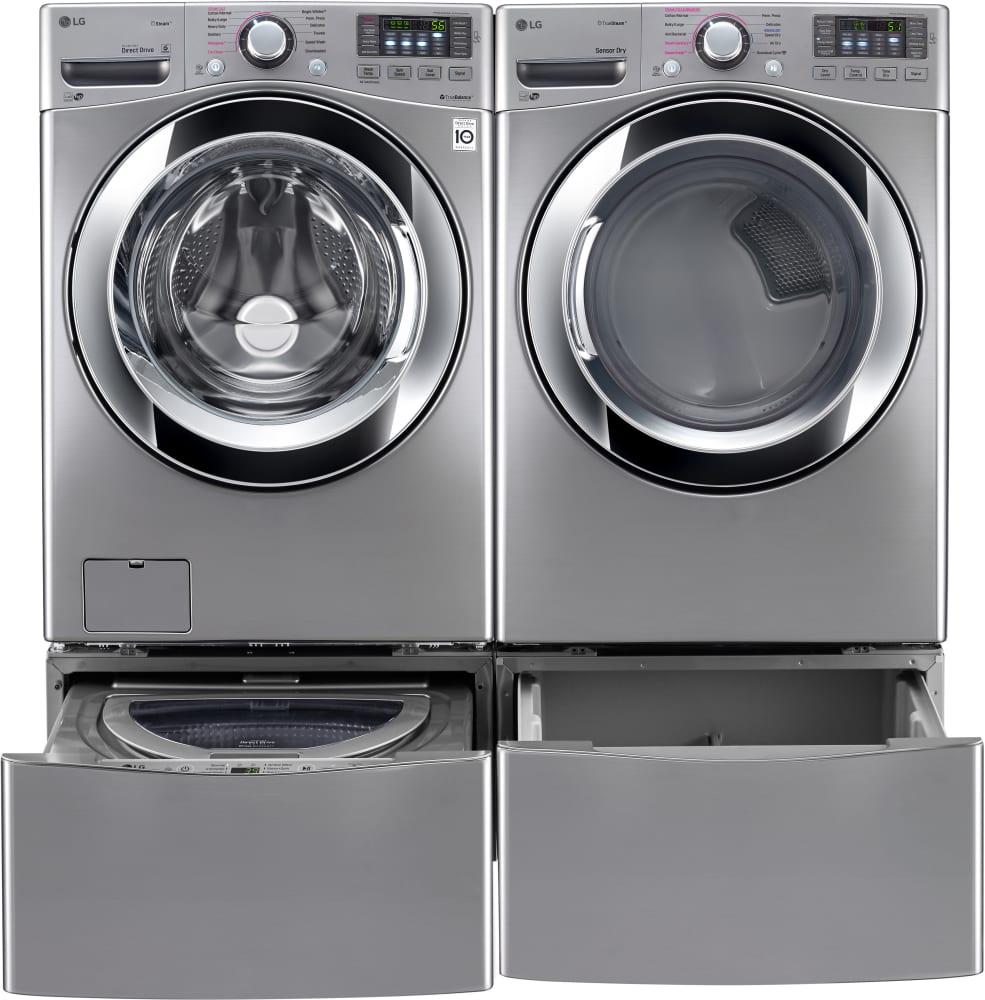 Lg Wm3670hva Laundry Pair With Sidekick Pedestal