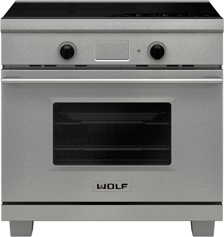 wolf ir365xe 36 inch induction range with 53 cu ft capacity 5 induction zones bridge elements dual convection oven temperature probe delay start