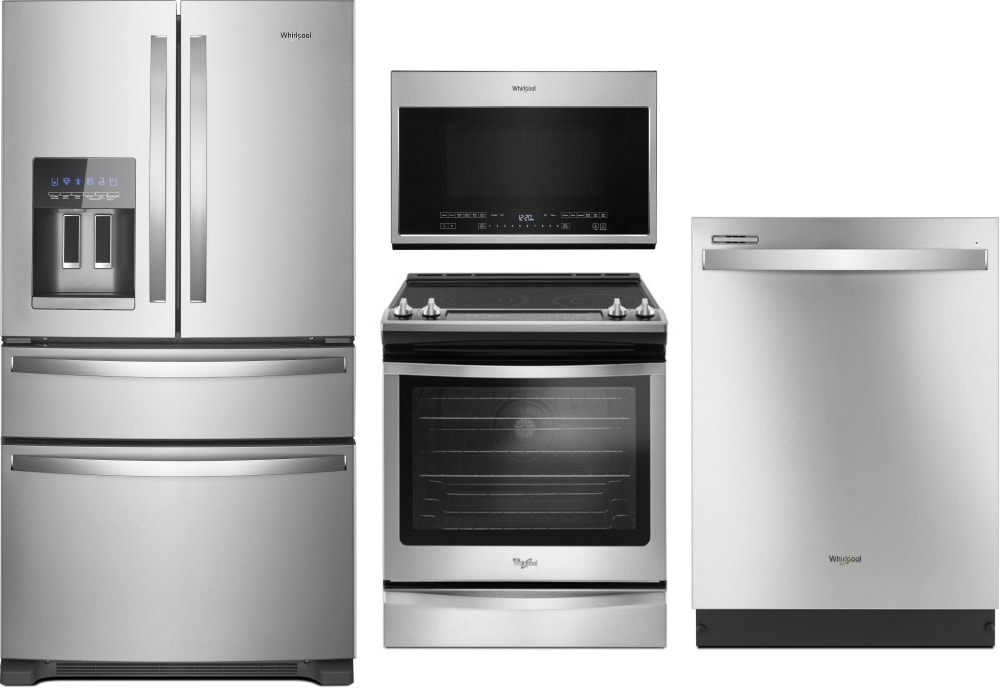 Whirlpool Wpreramwdw111120 4 Piece Kitchen Appliances Package With French Door Refrigerator Electric Range Dishwasher And Over The Range Microwave In Stainless Steel