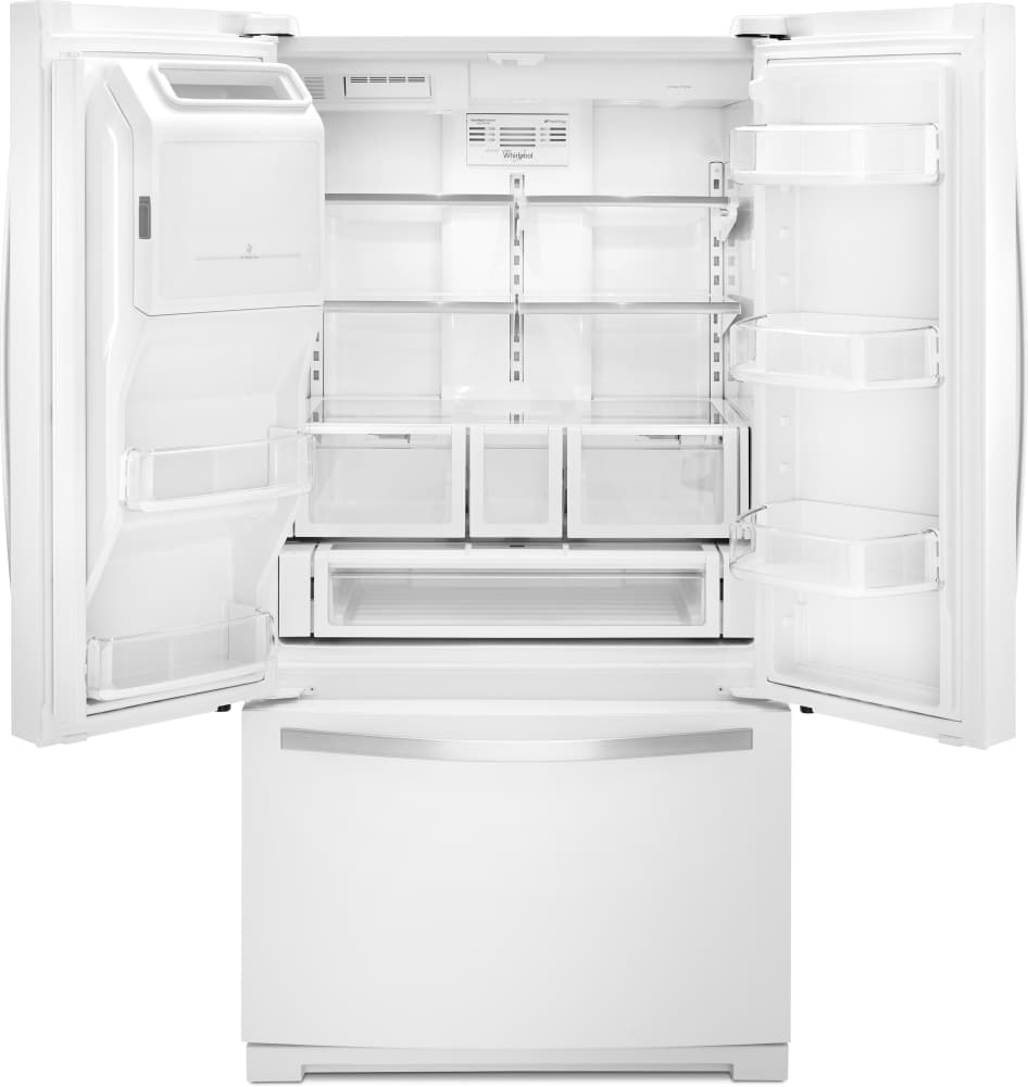 Whirlpool white ice counter depth french door - Whirlpool Wrf757sdeh White Front View Whirlpool Wrf757sdeh White Open View