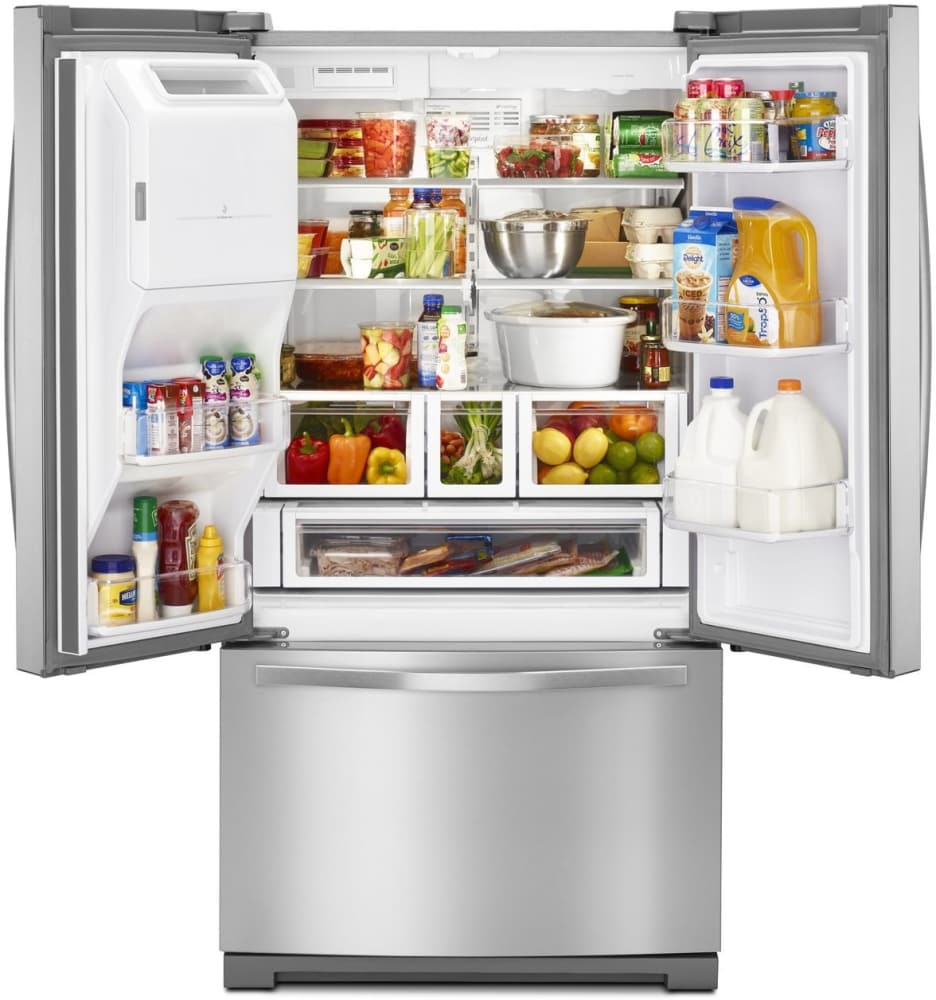 Whirlpool WRF767SDEM 36 Inch French Door Refrigerator With 27 Cu. Ft.  Capacity, Adjustable Glass Shelves, Dual Cooling System, In Door Ice  Storage, ...