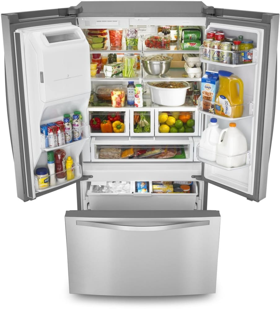 Whirlpool wrf767sdem 36 inch french door refrigerator with 27 cu even whirlpool wrf767sdem the freezer drawer features upper and lower slide out plastic baskets under rubansaba