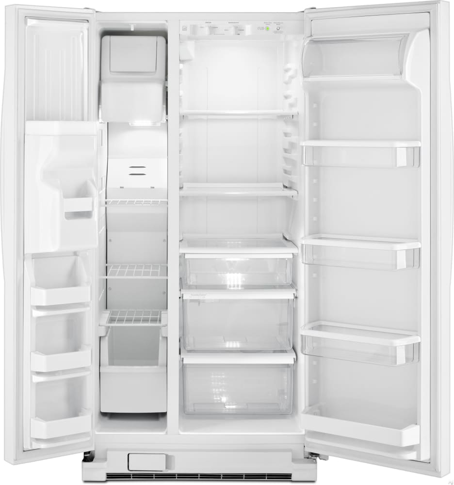Whirlpool white ice side by side -  Whirlpool Wrs322fdam White Open View