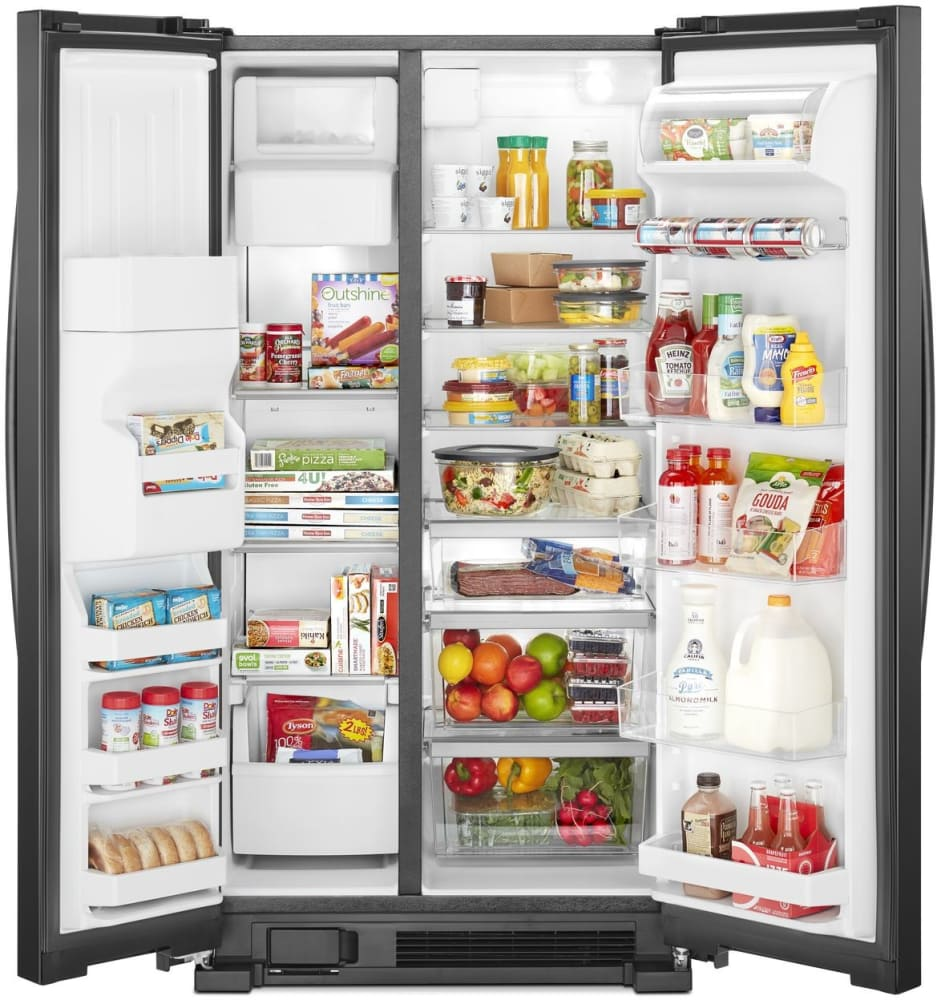Whirlpool WRS325SDHB 36 Inch Side By Side Refrigerator With Can Caddy, Deli  Drawer, Humidity Controlled Crispers, Frameless Glass Shelves, Adjustable  Gallon ...