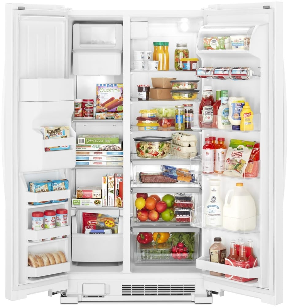 Whirlpool Wrs325sdhw 36 Inch Side By Refrigerator With Can Ice Maker Parts Diagram Further White Open View Exterior And Water Dispenser