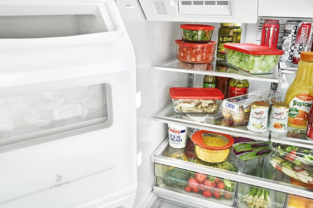refrigerator racks. whirlpool wrv986fdem - in-door-ice system creates room for an extra full shelf refrigerator racks