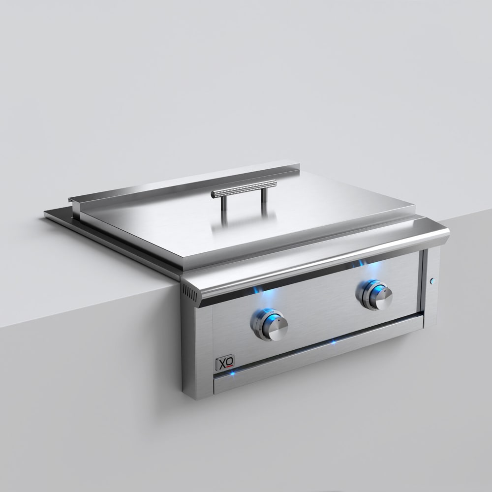 Xo Xogriddle30l 30 Inch Built In Griddle With 2 Burners 36 000 Total Btu 495 Sq In Cooking Surface 304 Stainless Tube Burners Illuminated Blue Led Control Stainless Steel Cover Reliable Flame Thrower Ignition