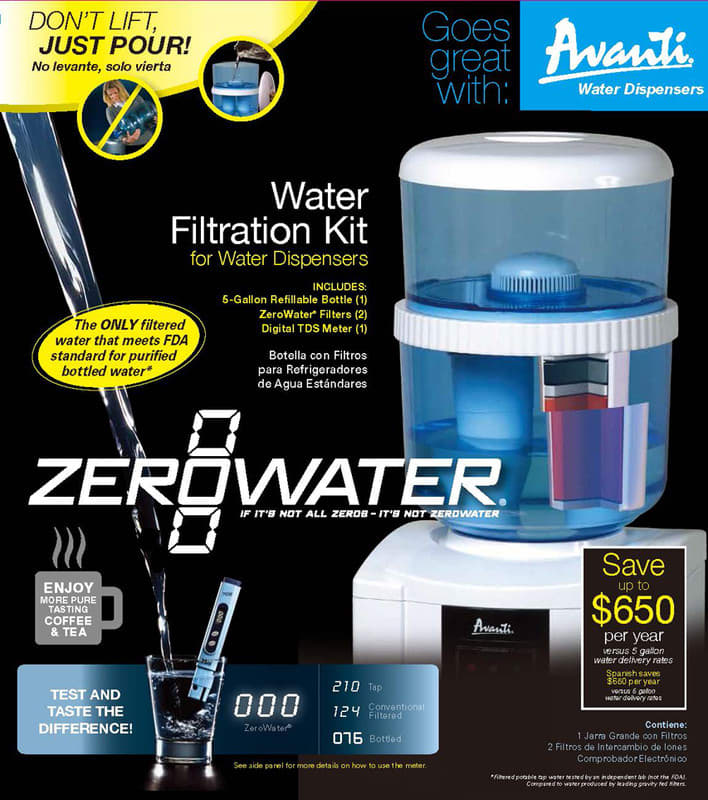 Avanti Zj003is Zerowater Water Bottle Kit With 8 Lb