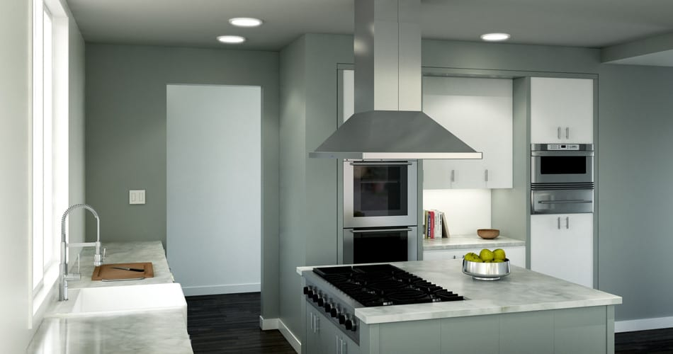 Zephyr Essentials Europa Zsle42bs 42 Inch Island Mount Chimney Range Hood