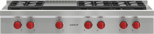 "Wolf SRT486GLP - 48"" Six (6) Sealed Burner Rangetop with Infrared Griddle"