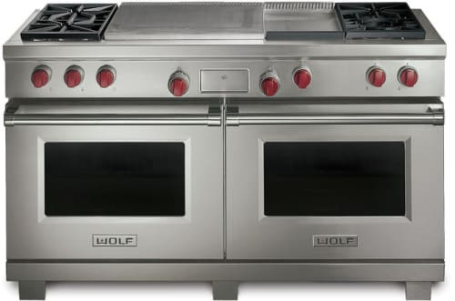 Wolf DF604GFLP - Stainless Steel with Red Knobs