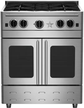 "BlueStar Precious Metals Collection RNB304PMV2 - 30"" Gas Range with 4 Burners and French Door Convection Oven"