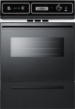 "Summit WTM7212KWSS - 24"" Single Gas Oven with Lower Broiler Compartment in Black Glass or Black Porcelain"