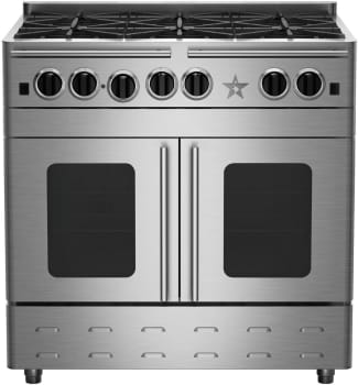 "BlueStar Precious Metals Collection RNB364CBPMV2 - 36"" Gas Range with 4 Burners, 12"" Charbroil Grill (not in photo) and French Door Convection Oven"