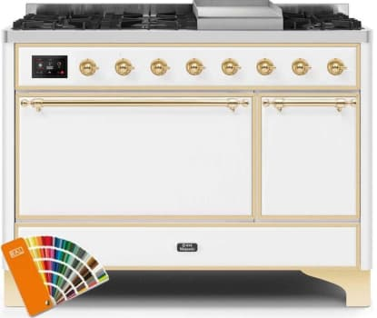 Ilve Majestic II Collection UM12FDQNS3RALGLP - Dual Fuel Natural Gas Freestanding Range