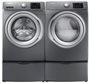 Samsung Sawadrga31 Side By Side On Pedestals Washer Dryer Set With Front Load Washer And Gas Dryer In Platinum