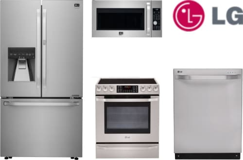 LG LGS4SSFD2 LG 4 Piece Kitchen Appliances Package with French Door ...