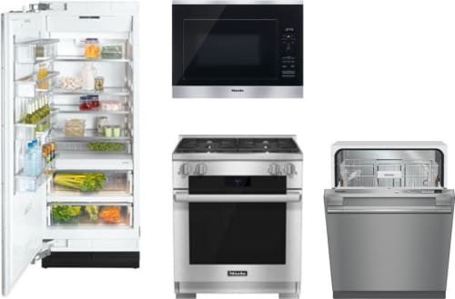 Miele MIRERADWMW34 Miele 4 Piece Kitchen Appliances Package with ...