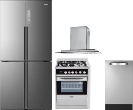 Haier HARERADWRH2 Haier 4 Piece Kitchen Appliances Package with ...