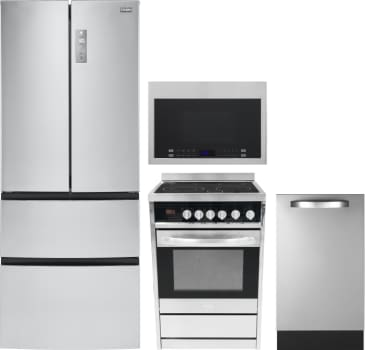 Haier HARERADWMW6 4 Piece Kitchen Appliances Package with French ...