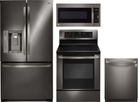 LG LGRERADWMW1037 4 Piece Kitchen Appliances Package with French ...