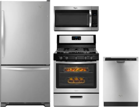 whirlpool wpreradwmw345 4 piece kitchen appliances package with