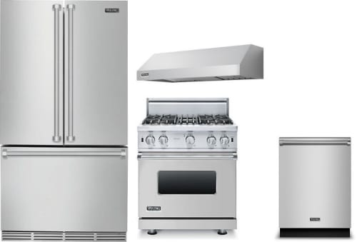 Viking VIRERADWRH11 4 Piece Kitchen Appliances Package with French ...