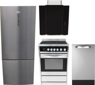 Haier HARERADWRH19 4 Piece Kitchen Appliances Package with Bottom ...