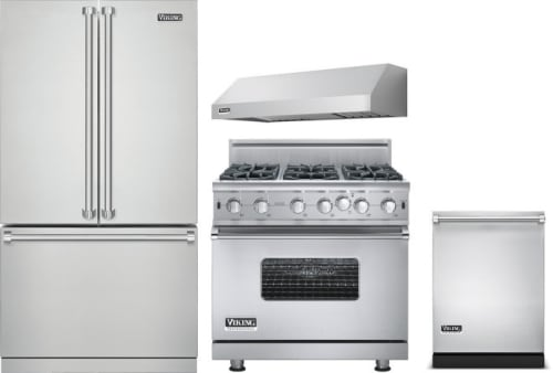 Viking VIRERADWRH83 4 Piece Kitchen Appliances Package with French ...
