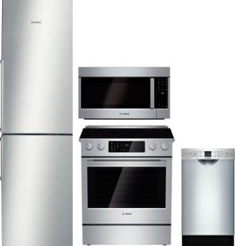 Bosch BORERADWMW919 4 Piece Kitchen Appliances Package with Bottom ...