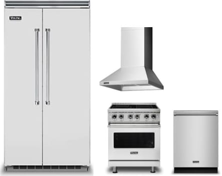 Viking VIRERADWRH341 4 Piece Kitchen Appliances Package with Side ...