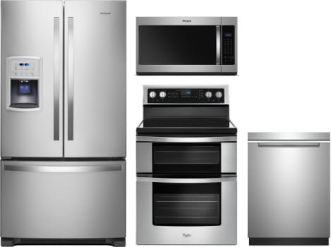 Whirlpool Wpreradwmw7461 4 Piece Kitchen Appliances Package With French Door Refrigerator Electric Range Dishwasher And Over The Range Microwave In Stainless Steel