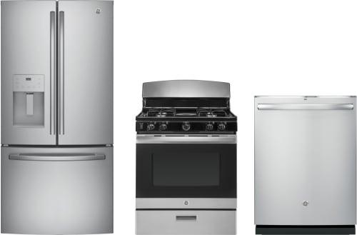 GE GERERADW281 3 Piece Kitchen Appliances Package with French Door ...