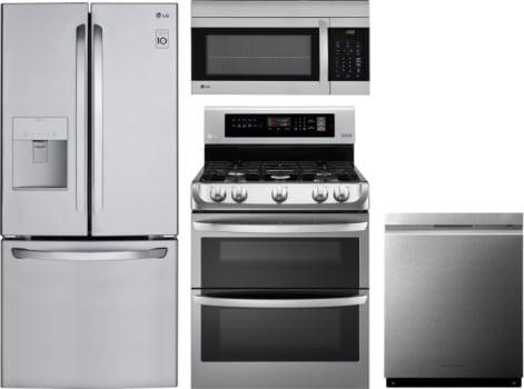 LG LGRERADWMW8181 4 Piece Kitchen Appliances Package with French ...