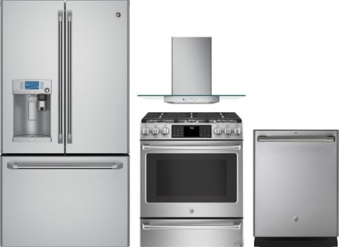 GE GERERADWRH42 4 Piece Kitchen Appliances Package with French Door ...