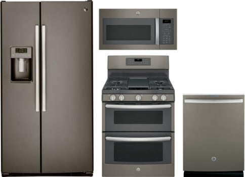 GE GERERADWMW9547 4 Piece Kitchen Appliances Package with Side-by ...