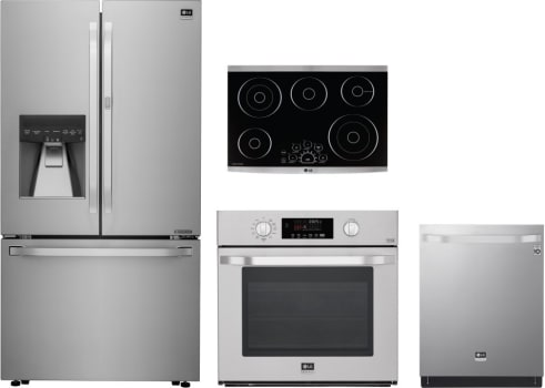 Lg Lgrectwodw11 4 Piece Kitchen Appliances Package With French Door
