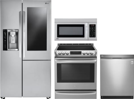 Lg Lgreradwmw9268 4 Piece Kitchen Appliances Package With Side By