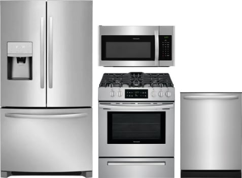 Frigidaire Frreradwmw90871 4 Piece Kitchen Appliances Package With French Door Refrigerator Gas Range Dishwasher And Over The Range Microwave In Stainless Steel