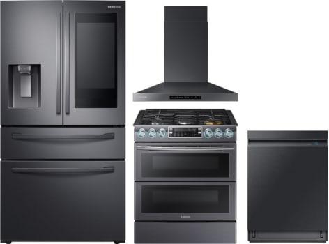 Samsung Sareradwrh17 4 Piece Kitchen Appliances Package With French Door Refrigerator Gas Range And Dishwasher In Black Stainless Steel