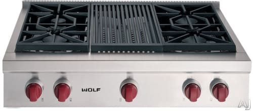 Wolf SRT364C - Stainless Steel with Red Knobs