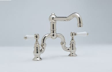 Rohl Country Kitchen Collection A1420XMIB - Polished Nickel (Porcelain Lever Handles Shown)