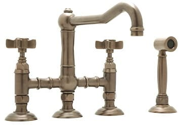 Rohl Country Kitchen Collection A1458LPWSTCB2 - Tuscan Brass (5-Spoke Cross-Handles Shown)
