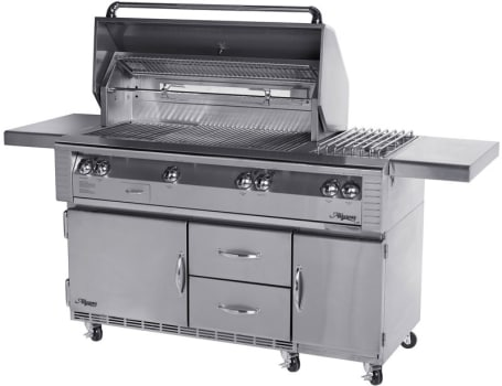 """Alfresco LX2 ALX256SZRFG - 56"""" Grill with Side Burner and Refrigerated Base"""
