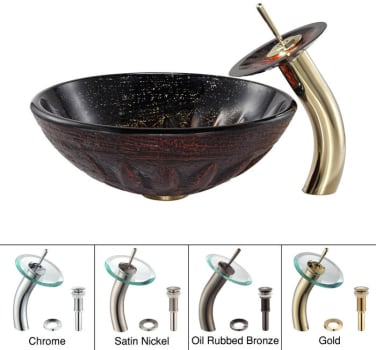 Kraus Copper Series CGV68119MM10G - Magma Glass Sink with Waterfall Faucet