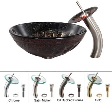Kraus Copper Series CGV68119MM10SN - Magma Glass Sink with Waterfall Faucet