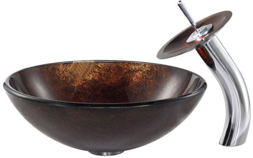 Kraus Copper Series CGV68312MM10 - Jupiter Glass Vessel Sink and Waterfall Faucet